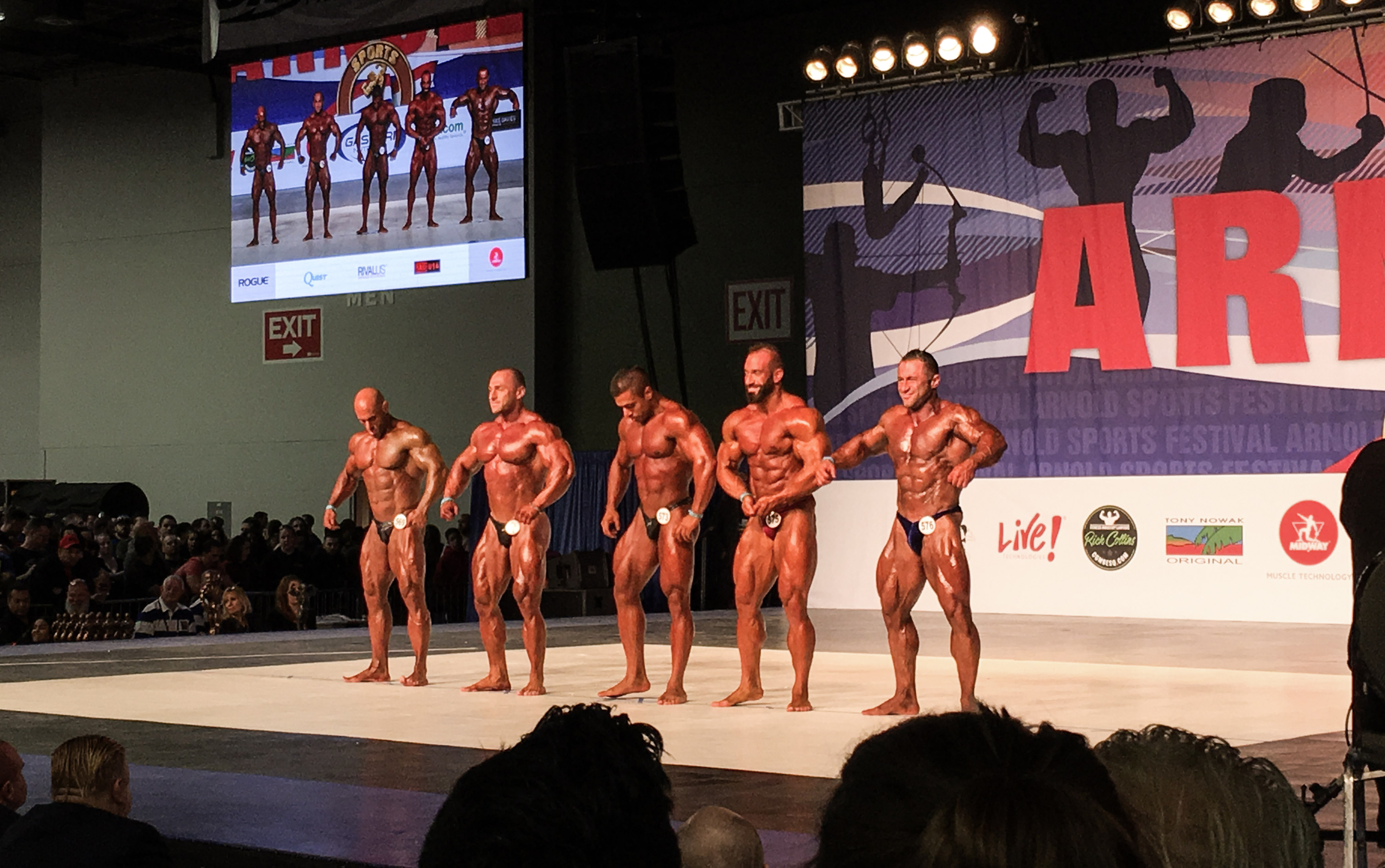 Body Builders posing for the crowd.