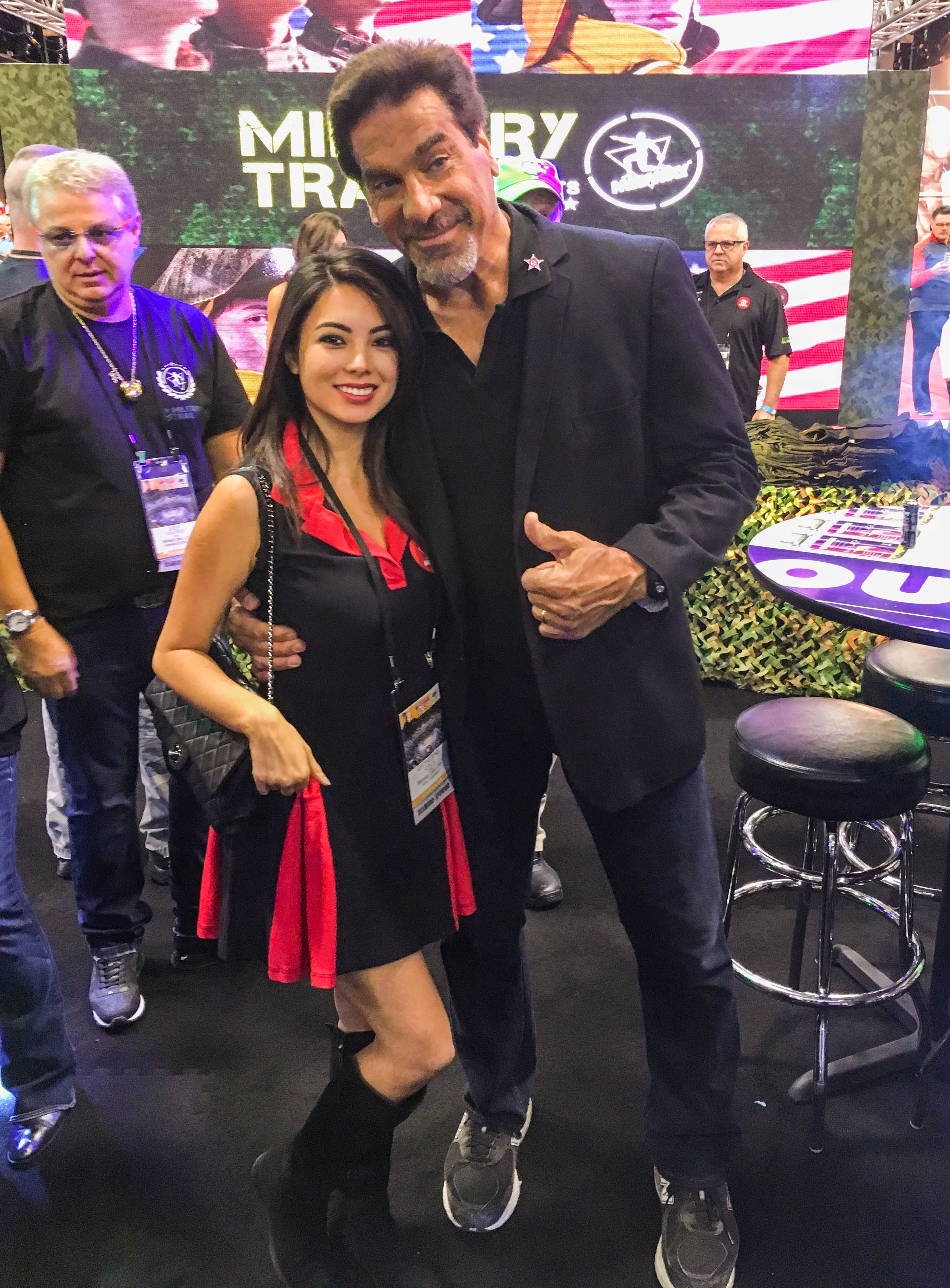 Midway Labs VP Catherine Colle & Lou Ferrigno at the booth.