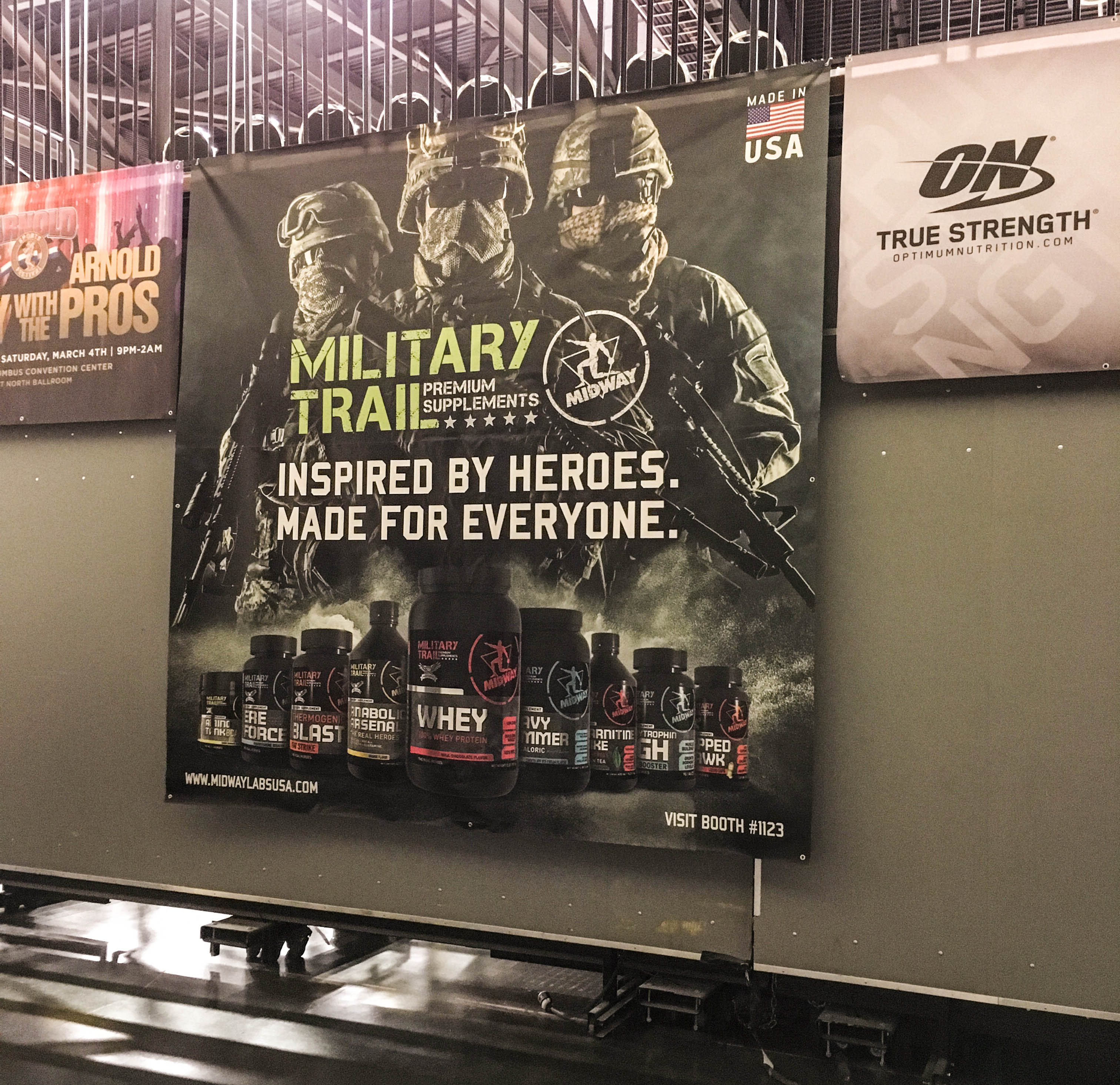 Military Trail Product Banner on Display at The Arnold.