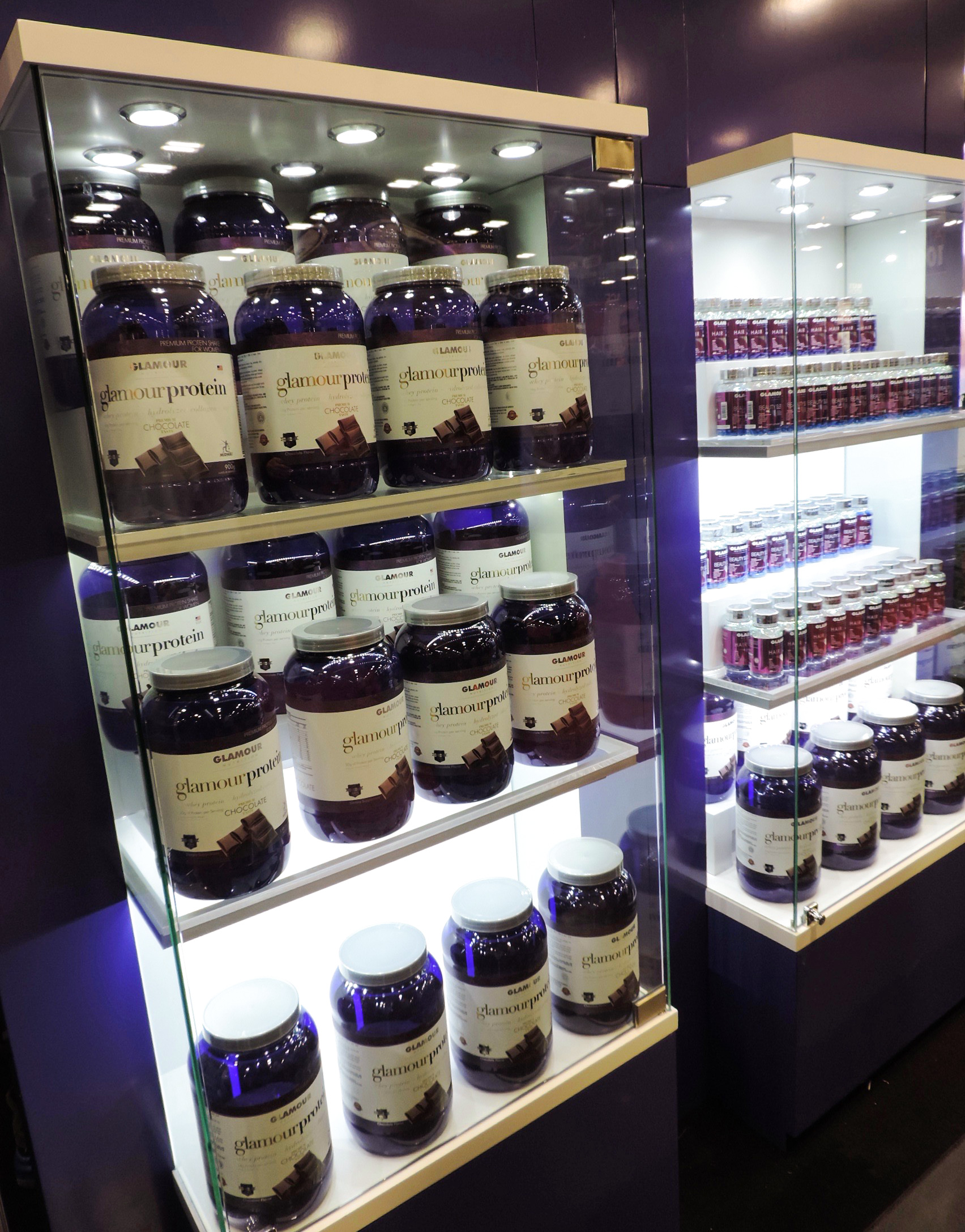 Glamour Nutrition Supplements on Display.