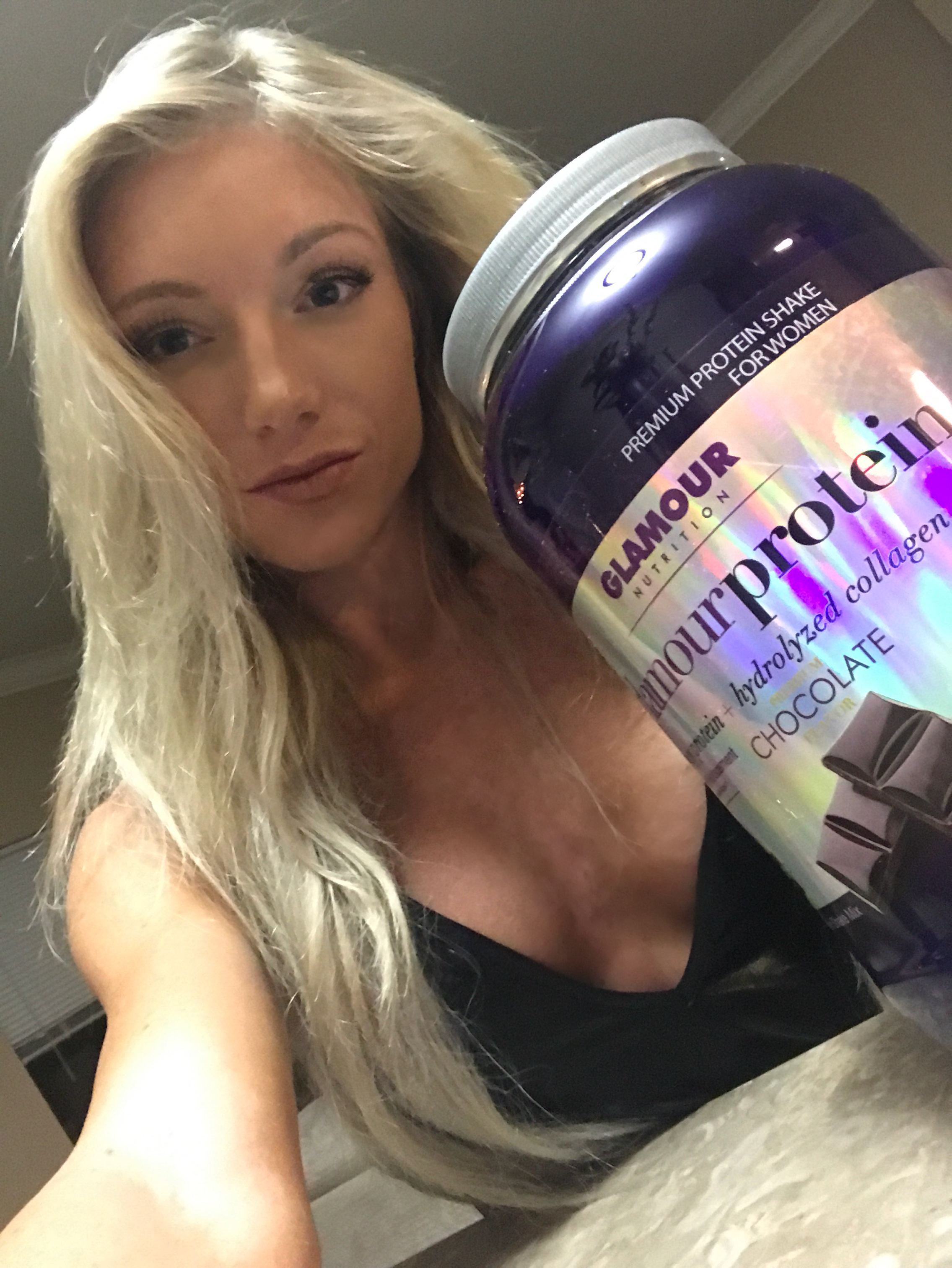 Danielle Eells with her Glamour Protein – Midway Labs USA product line, Glamour Nutrition